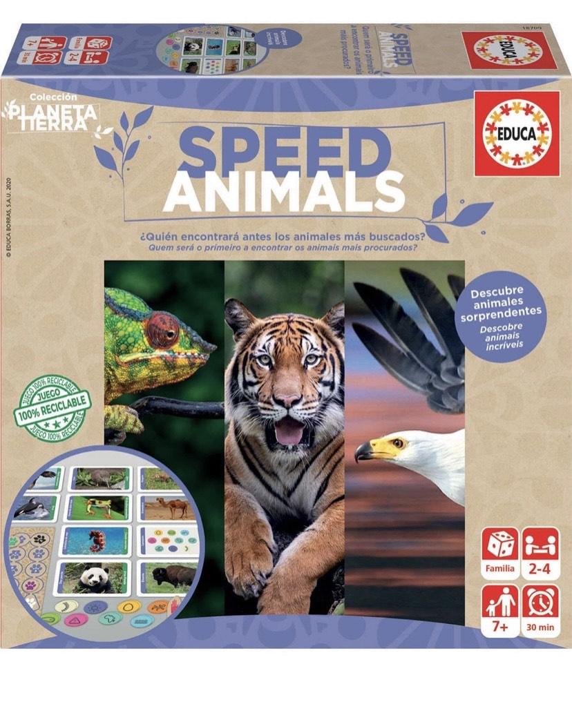 Educa- Planeta Tierra-Speed Animals Juego de Mesa Familiar realizado con Materiales 100% reciclados con 480 Preguntas