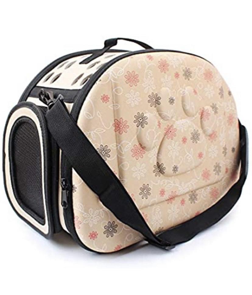 Sinbide - Bolsa de transporte para perro o gato, transpirable, desmontable, lavable, Oxford (beige)
