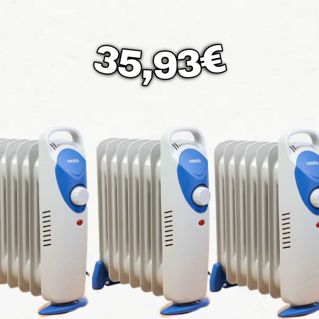 3 Radiadores eléctricos por 35,93€ (incluido envío a Correos o Punto Pack) (2 uds por 26€)