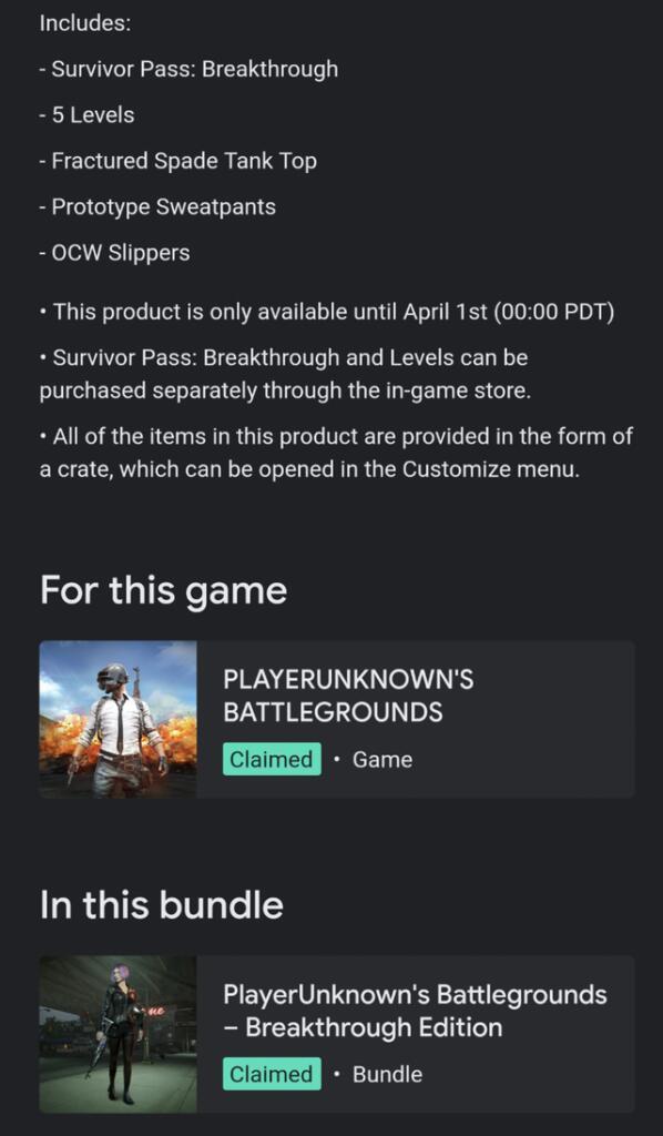 PUBG Breakthrough Edition gratis con Stadia Pro