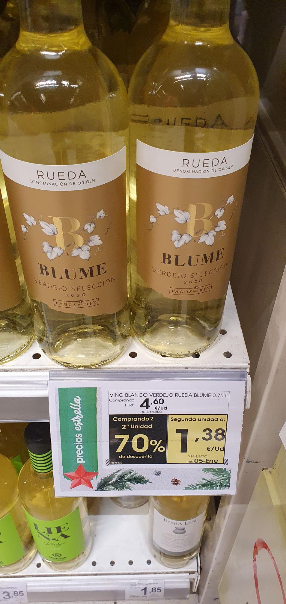 Vino Blanco Blume, 70% en la segunda unidad Eroski