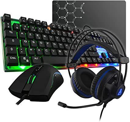 Teclado retroiluminado, ratón gaming, alfombrilla y casco gaming SUPER PACK