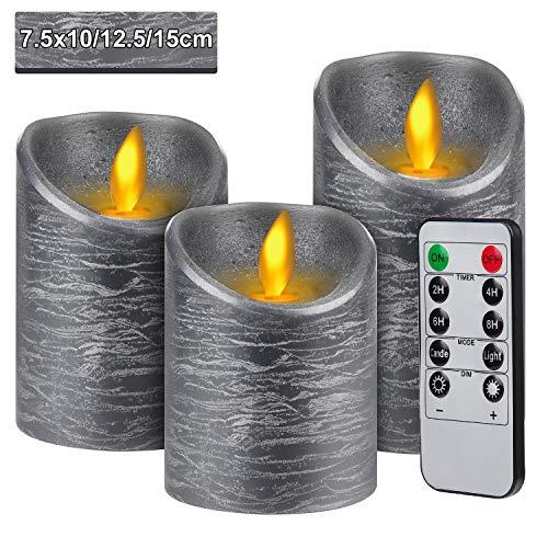 3pcs Velas LED con Mando a Distancia de 10 Botones