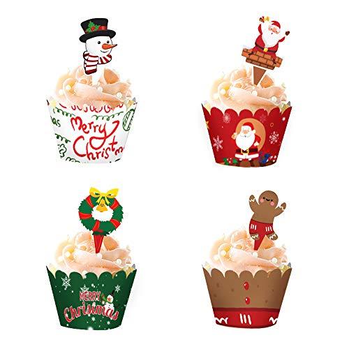 48 adornos y envoltorios para magdalenas de Navidad, muñeco de nieve, Papá Noel, corona, hombre de jengibre
