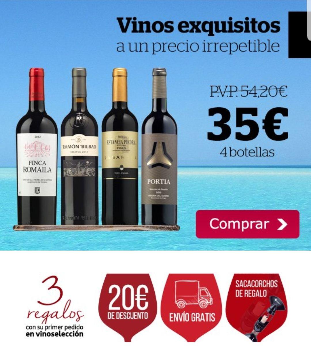 Pack de 4 vinos por 35€ + regalo sacacorchos