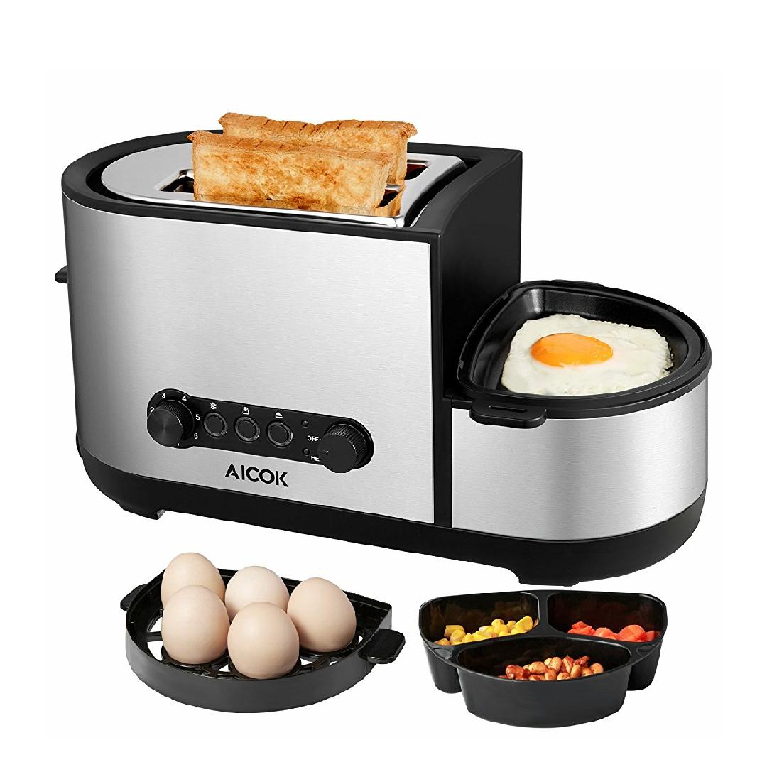 Aicok Tostadora y Cocedora de Huevos 5 en 1