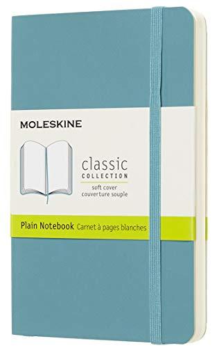 Moleskine - Cuaderno Clásico con Páginas Lisas, Tapa Blanda y Goma Elástica, Azul (Reef Blue), Tamaño Bolsillo, 192 Páginas
