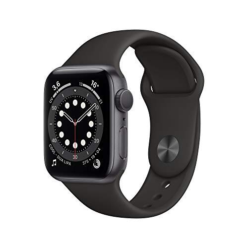 Apple Watch Series 6 (GPS, 40 mm) Caja de aluminio en gris espacial - Correa deportiva negra
