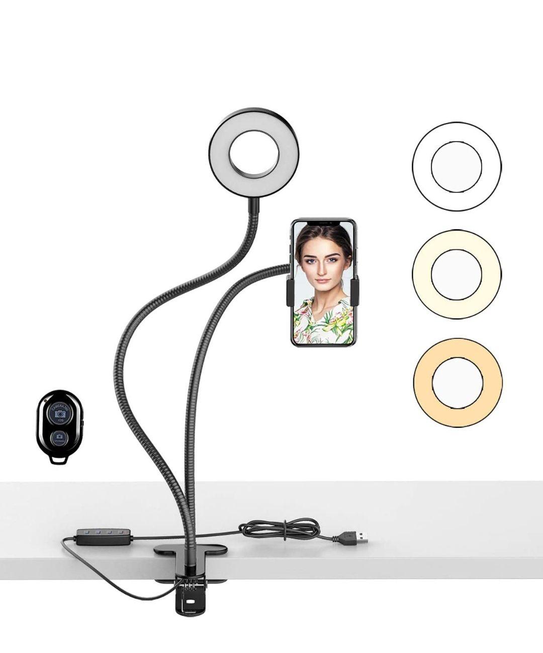 Selfie LED Anillo de Luz con Soporte para Teléfono, 3 Modos de Color para Transmisión en Vivo,Videos de Youtube TikTok, Maquillaje