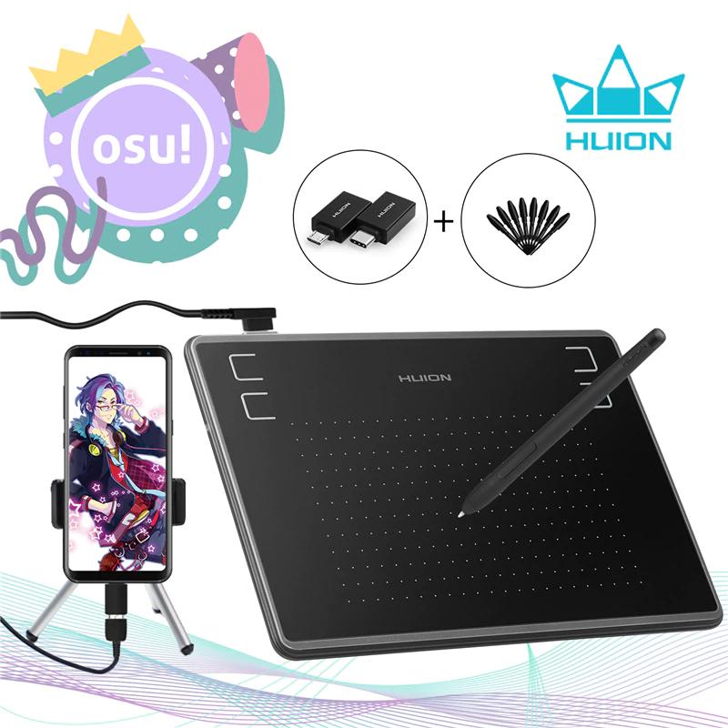 HUION-tableta Digital de dibujo gráfico H430P, bolígrafo de firma