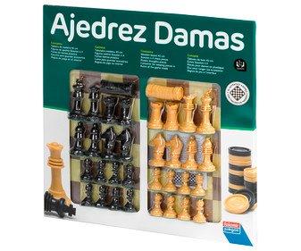 Juego de mesa clásico Ajedrez y Damas para 2 jugadores, tablero 40cm.
