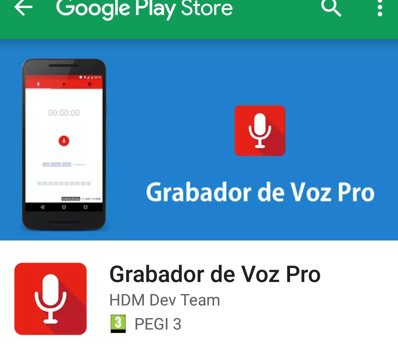 Android: Grabador de voz pro GRATIS (2,99€ precio habitual).