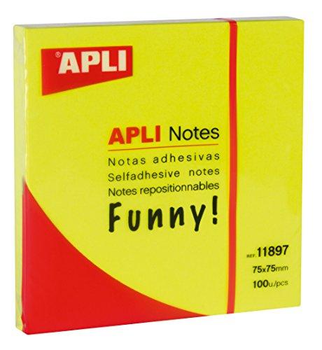 Notas adhesivas, 75 x 75 mm, color Amarillo Brillante