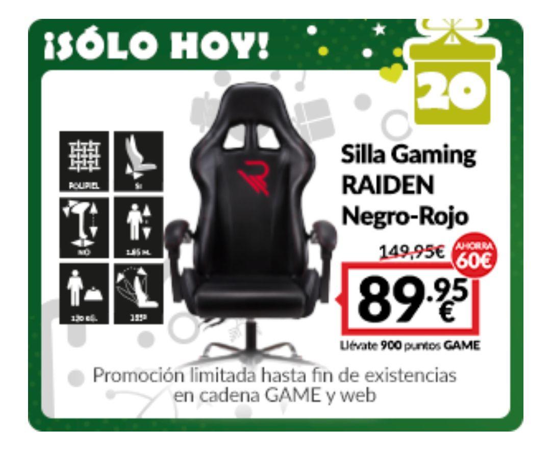 SILLA GAMING RAIDEN Negro-Rojo