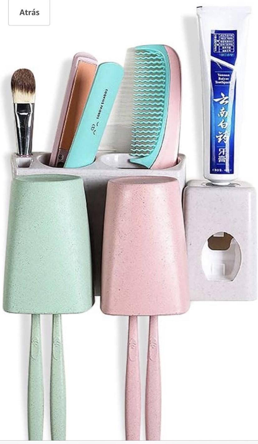 Juego de almacenaje para cepillo de dientes,Equipado con pasta de dientes automática 2 tazas y 2 ranuras