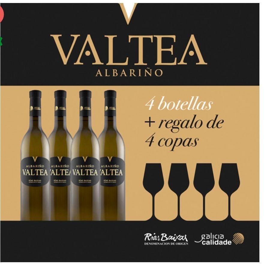 VALTEAVino blanco albariño D.O. Rías Baixas caja 4 botellas 75 cl + regalo de 4 copas