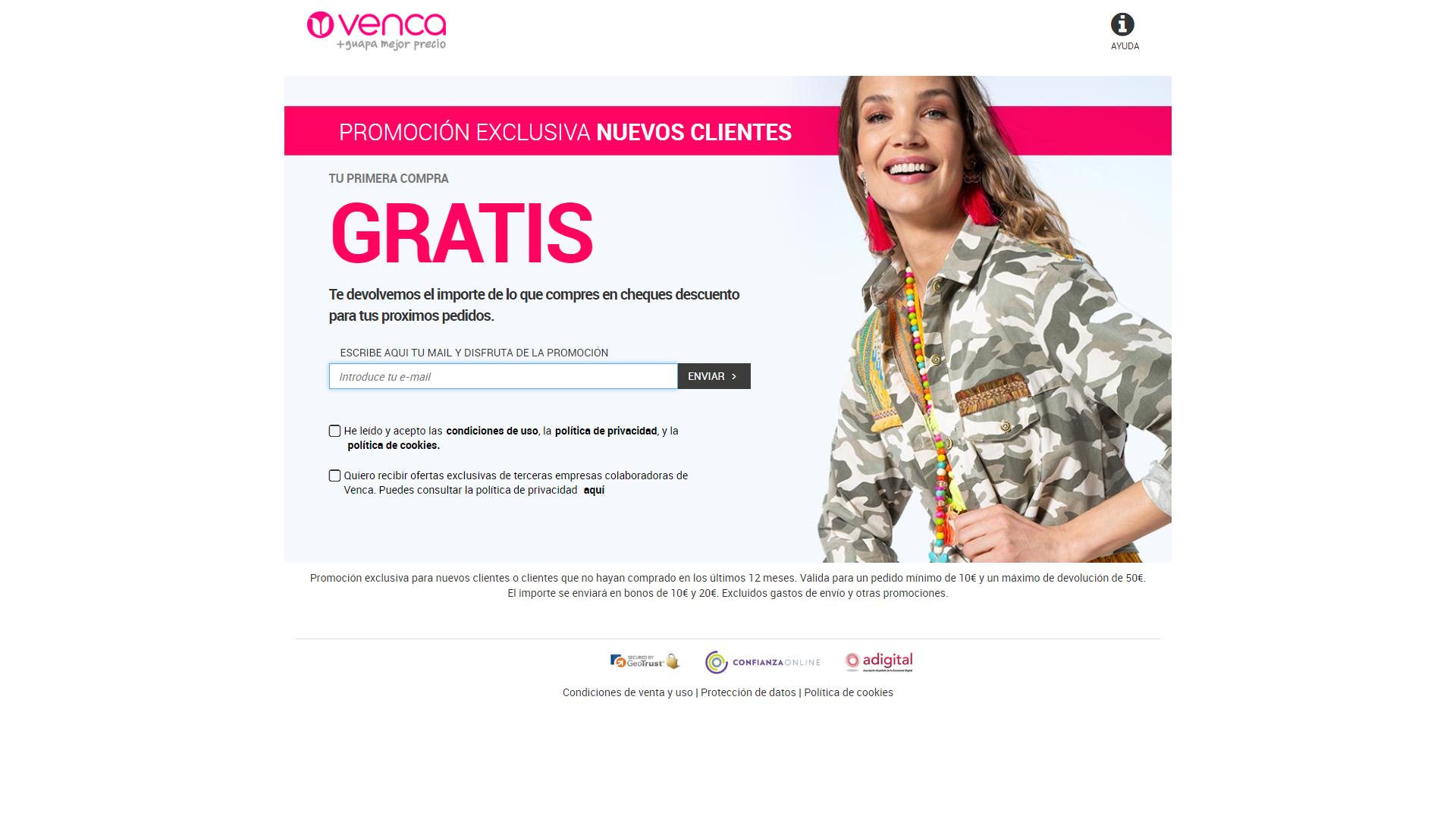Primera compra gratis en Venca (devolución bonos Venca)