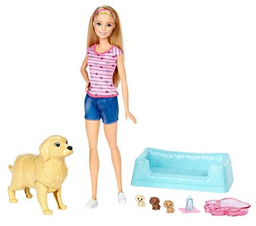 Barbie y sus perritos sorpresa, muñeca con accesorios (Rubia)