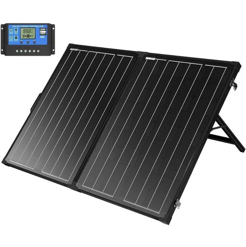 Panel solar 130W monocrist. + Controlador 10A + Estructura portatil + maletin transporte