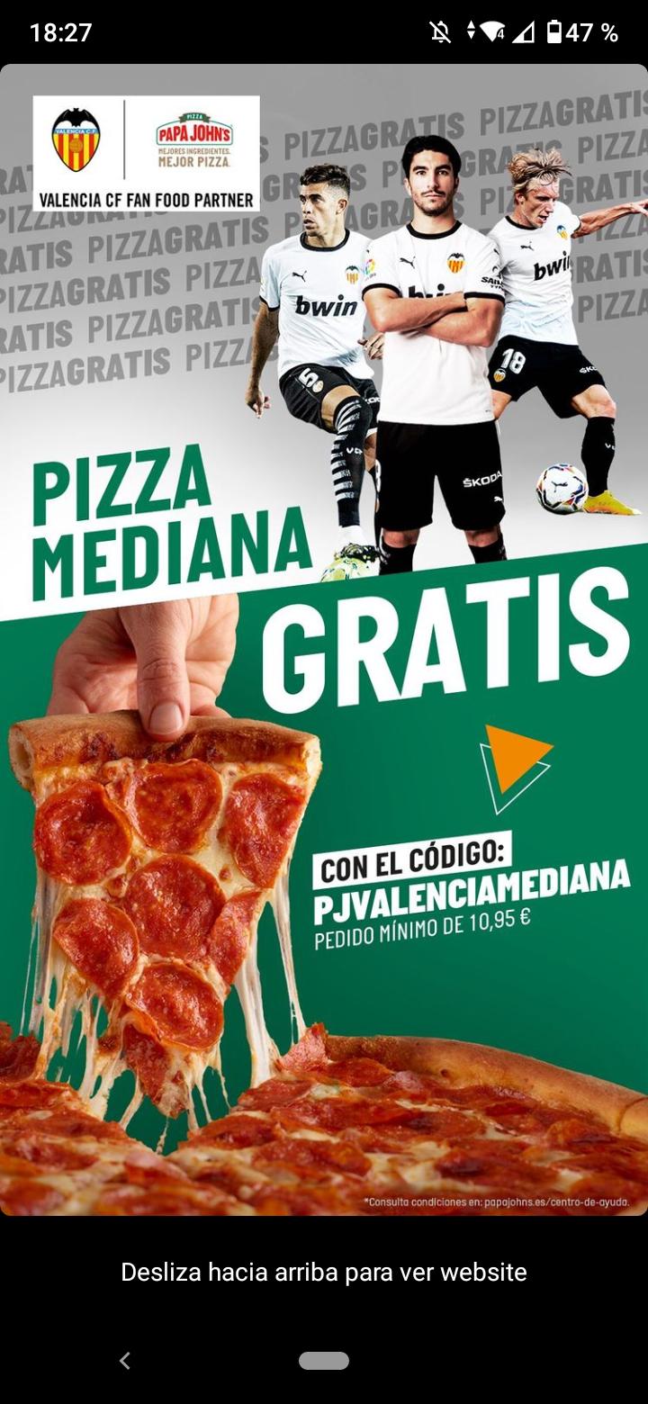 Pizza mediana gratis en papa johns(pedido minimo 10,95)