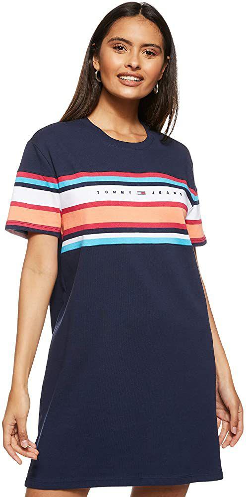 TALLA XXS - Tommy Jeans Tjw Logo tee Dress Vestido para Mujer