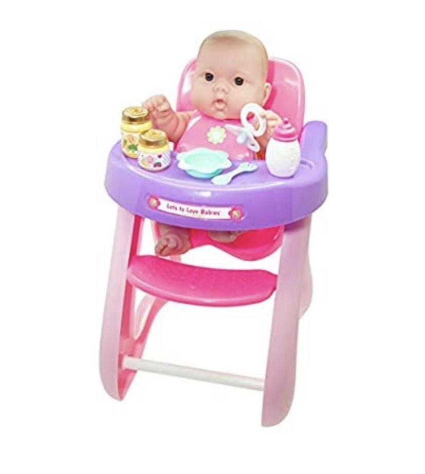 Muñeca con trona y accesorios JC TOYS- Lots to Love Babies