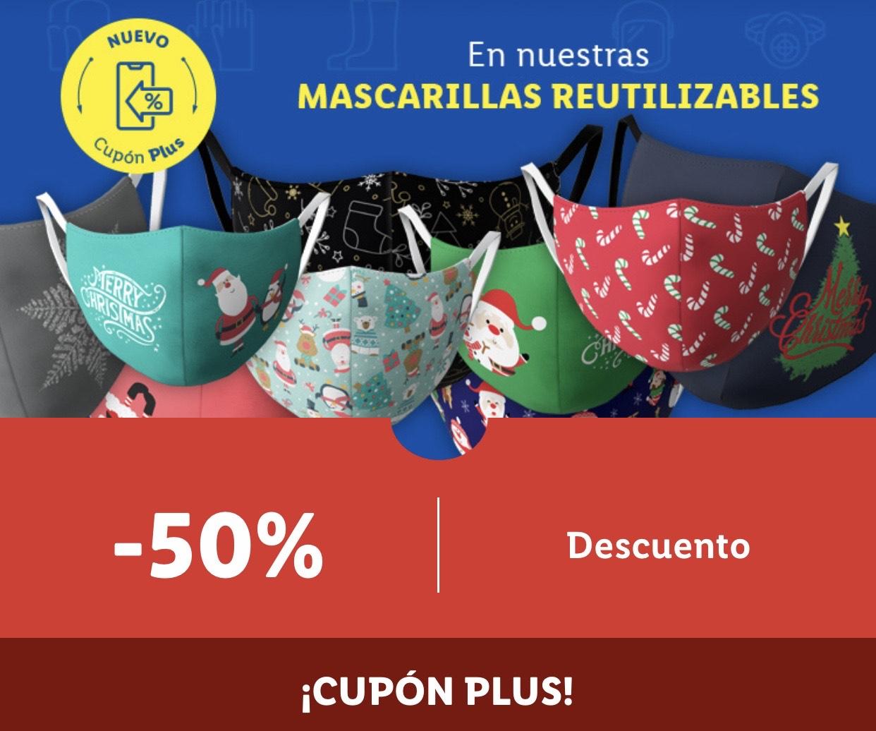 50% en mascarillas reutilizables CUPON LIDL PLUS