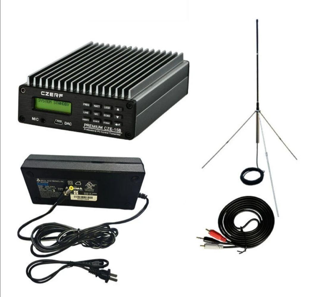 CZERF Transmisor FM estéreo PLL CZE-15B 0.3-15W Estación de radio de transmisión inalámbrica ajustable 87-108MHz