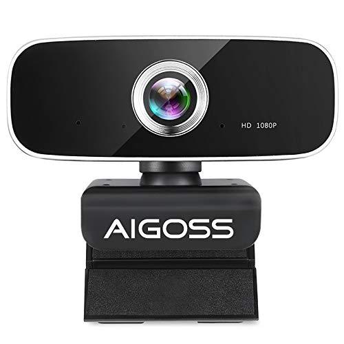 Aigoss Webcam Full HD 1080P con Micrófono Estéreo Cámara Web USB Compatible con Windows, Mac y Android