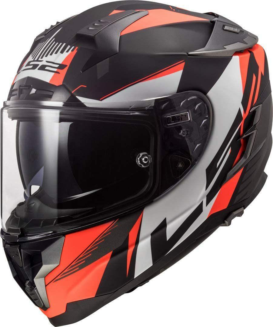 TALLA M - LS2 NC Casco per Moto, Hombre, Negro/Blanco/Fluo