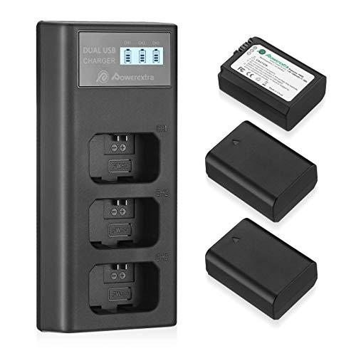 Cargador más 3 baterías de 1500mA para cámaras Sony