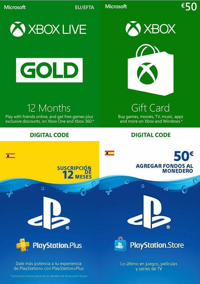 XBOX LIVE 50 EUR por 39,44€, 12 Meses Gold por 40,96€, PSN CARD 50 EUR por 39,71€, PS PLUS 12 MESES 41,26€, y más.