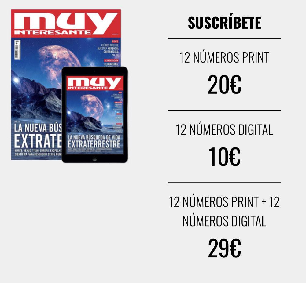 Revista Muy Interesante suscripción anual digital por 10€ o recíbela en papel por 20€ (12 números)