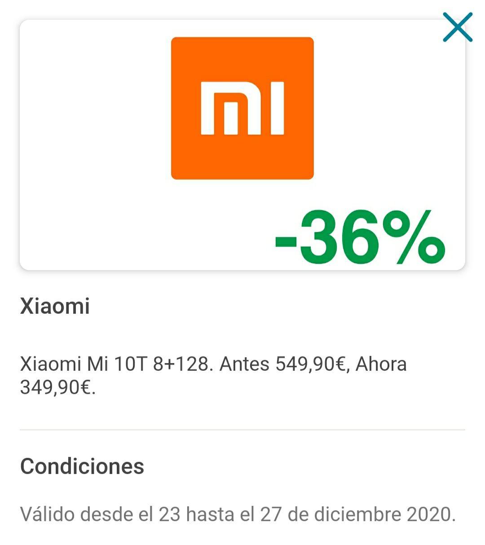 Xiaomi MI 10 T (pagando con waylet) en el corte inglés
