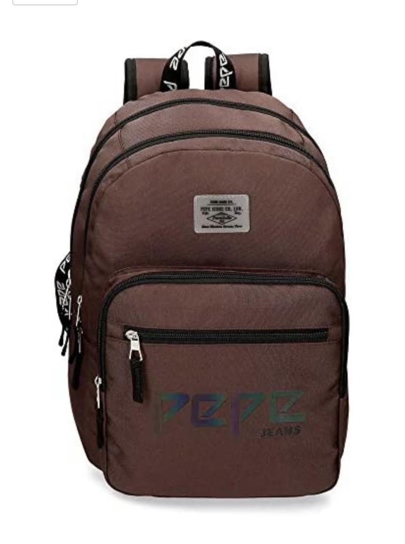 Pepe Jeans Osset Mochila Doble Compartimento Adaptable a Carro Marrón 31x46x15 cms Poliéster 21.39L