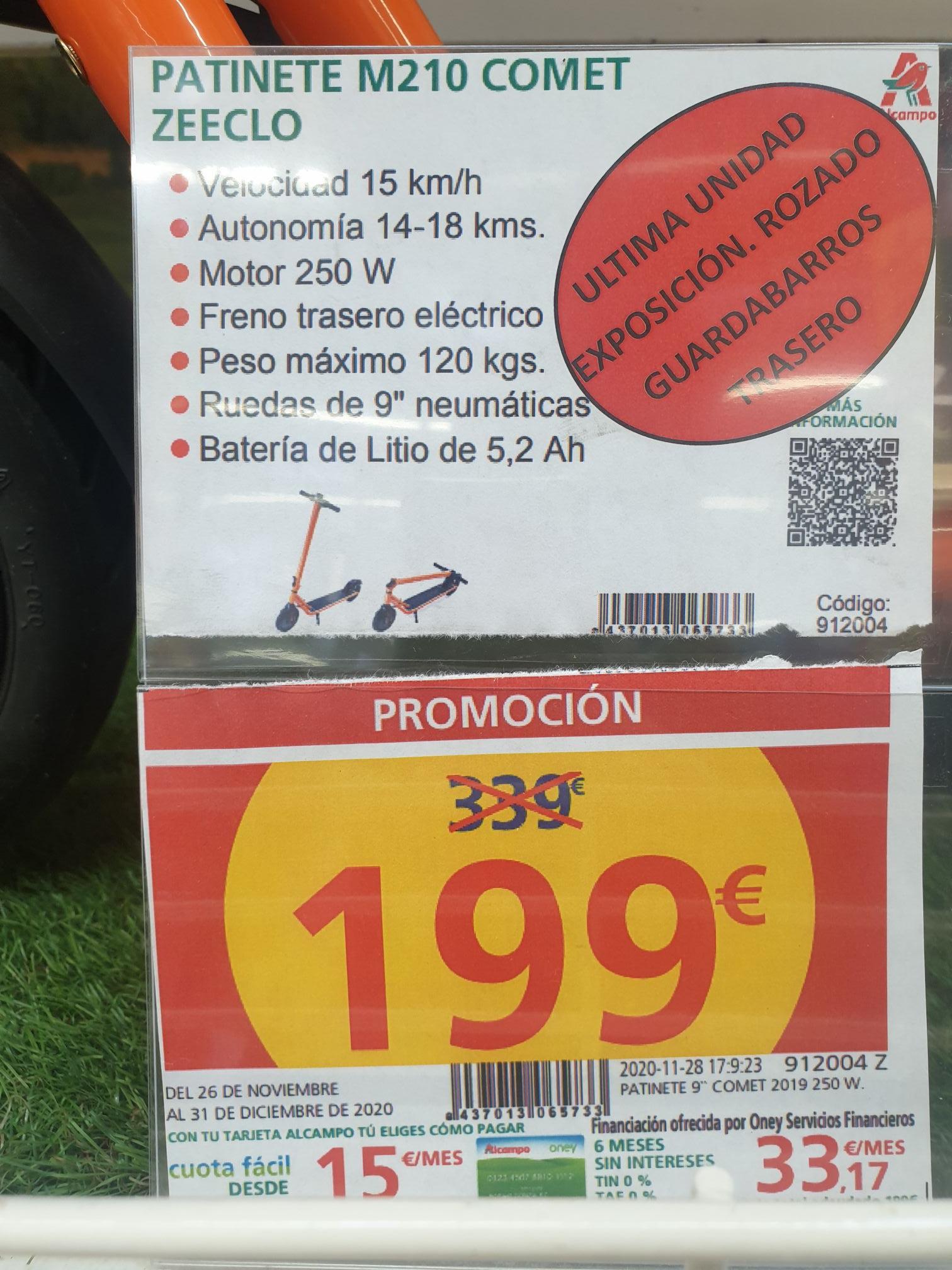 Patinete eléctrico COMET ZEECLO M210 (Unidad de exposición con roze en guardabarros)