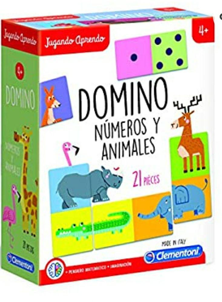 Clementoni- Dominó de los Animales Juego, Multicolor