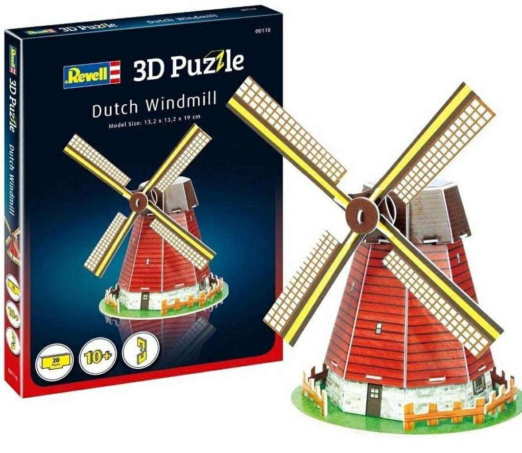 Revell- Molino de Viento holandés 3D Puzzle, Multicolor