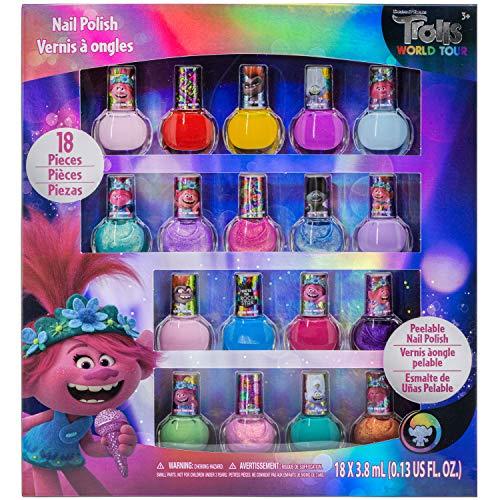 TownleyGirl Trolls Poppy And Friends Esmalte De Uñas Lavable Superbrillante Despegable Para Niños, 18 Colores