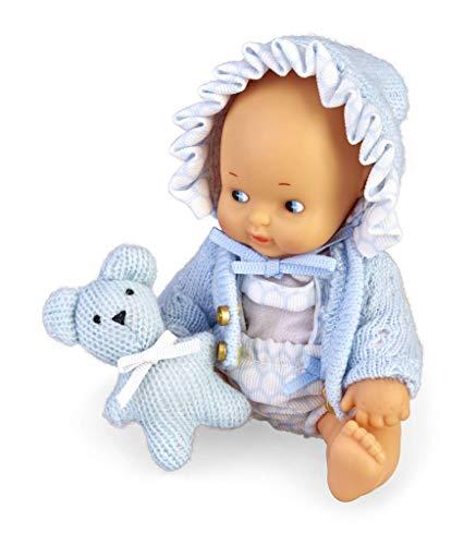 los Barriguitas- Set de bebé con ropita Azul y Mascota de Punto