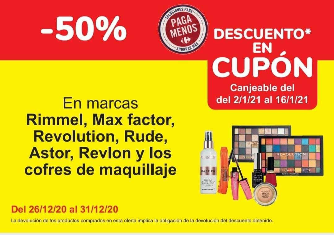 50% maquillaje en cupón en Carrefour