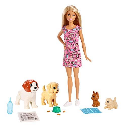 Barbie y su guardería de perritos, muñeca con mascotas y accesorios (Mattel FXH08)