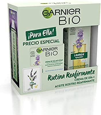 Garnier BIO Crema Antiedad con Aceite Esencial de Lavanda y VitaminaE+Aceite de Rostro Reafirmante. 50ml+30ml