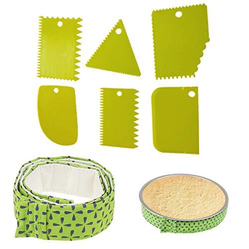 6 Espátulas de Plástico para Tartas, Cortador de Masa, Horneado Desigual y tira de pastel para hornear