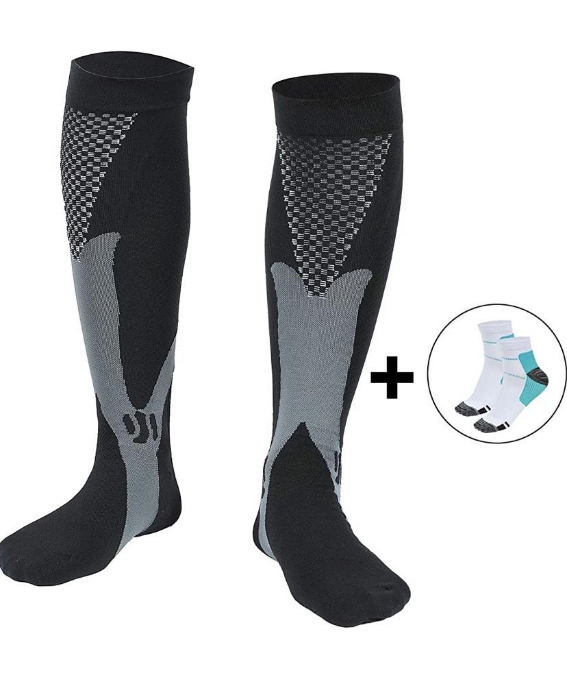 Talla S/M Medias de compresión deportivas y calcetines .2 pares de calcetines de compresión (1 largo + 1 corto)