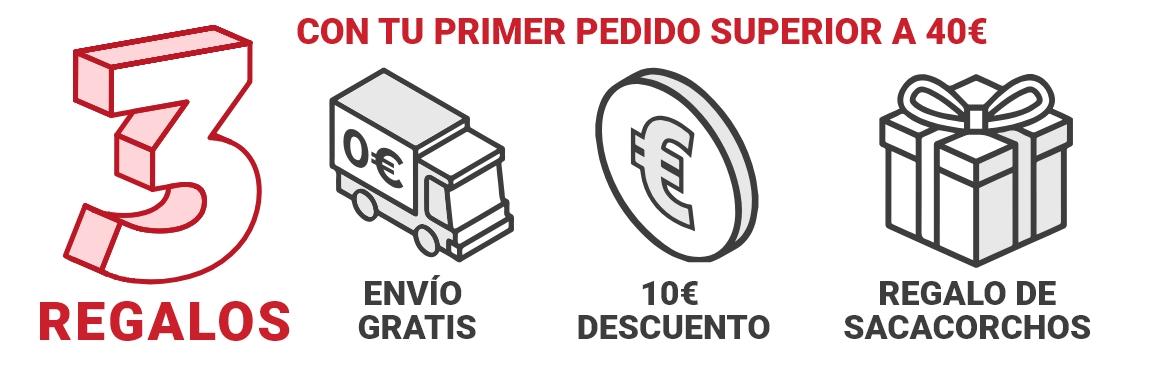3 REGALOS (10€ descuento, Envío gratis, sacacorchos gratis)