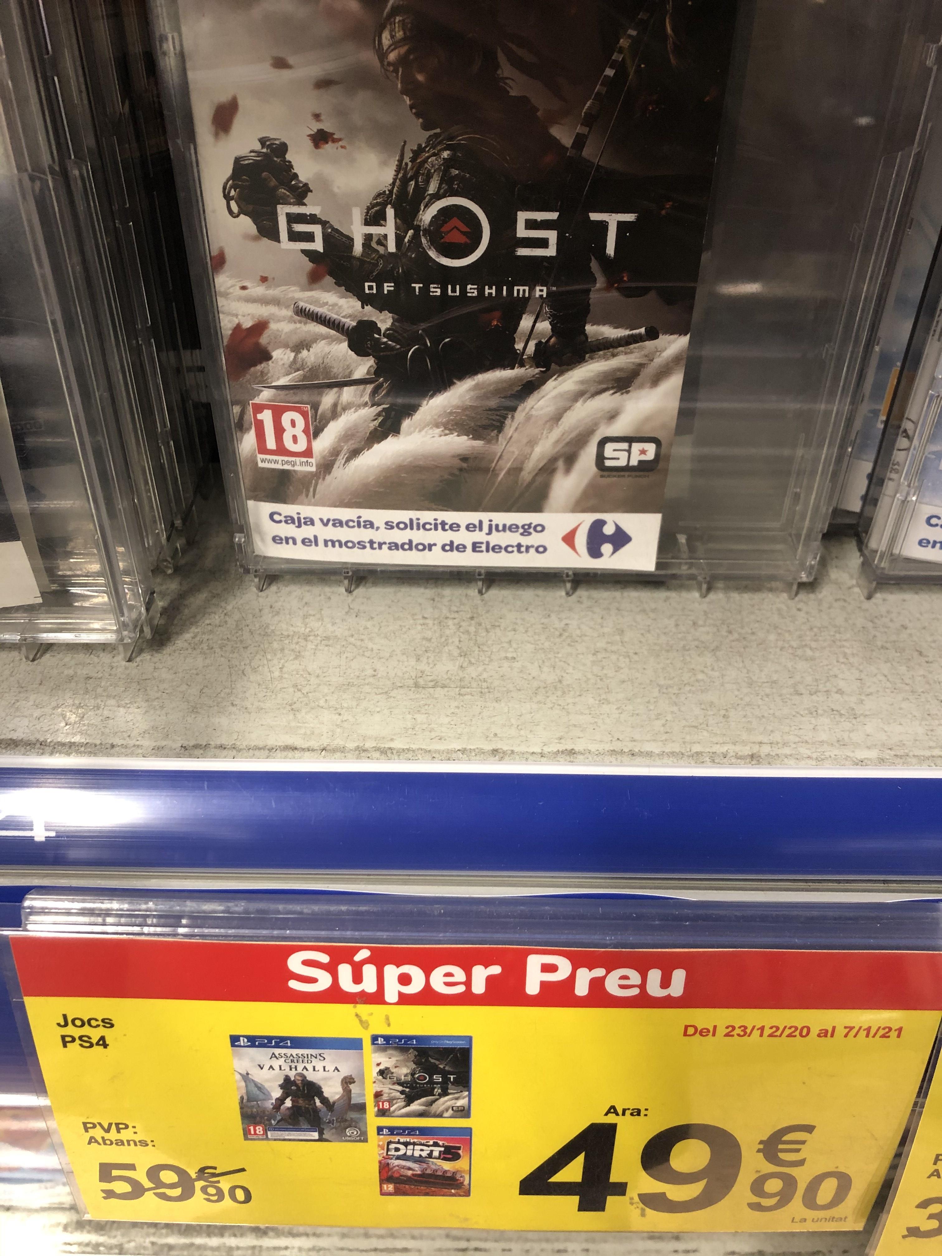 Ghost of tsushima, Assassins Creed Valhalla y Dirt 3 Carrefour Badalona