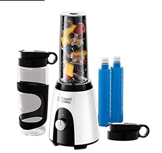 Batidora de Vaso Individual (400 W, Sin BPA, Blanco y Negro, 2 Vasos de 600 ml, 2 Tubos Refrigeradores)