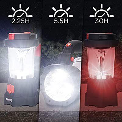 Farol de Camping Recargable USB, Linterna LED, Farol de Mano, Lámpara de 10 LED, Señal de Emergencia Roja Intermitente, Linterna de 3 LED