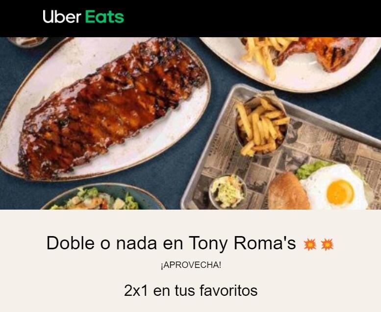 2x1 en Tony Roma's - Uber Eats